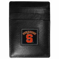 Syracuse Orange Leather Money Clip/Cardholder in Gift Box