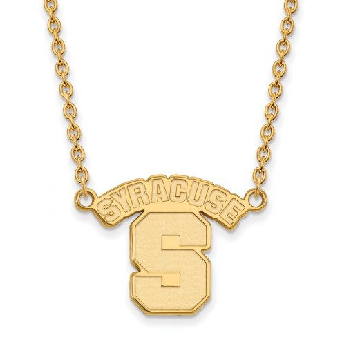 Syracuse Orange NCAA Sterling Silver Gold Plated Large Pendant Necklace