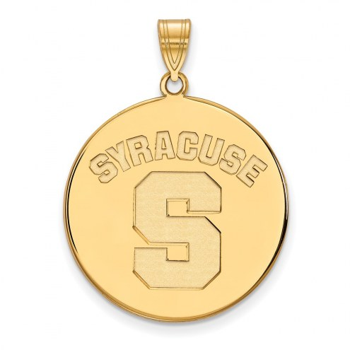 Syracuse Orange Sterling Silver Gold Plated Extra Large Disc Pendant