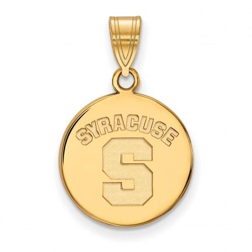 Syracuse Orange Sterling Silver Gold Plated Medium Disc Pendant
