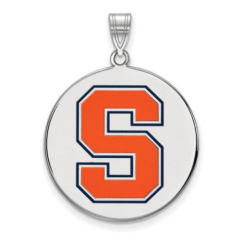 Syracuse Orange Sterling Silver Extra Large Enameled Disc Pendant