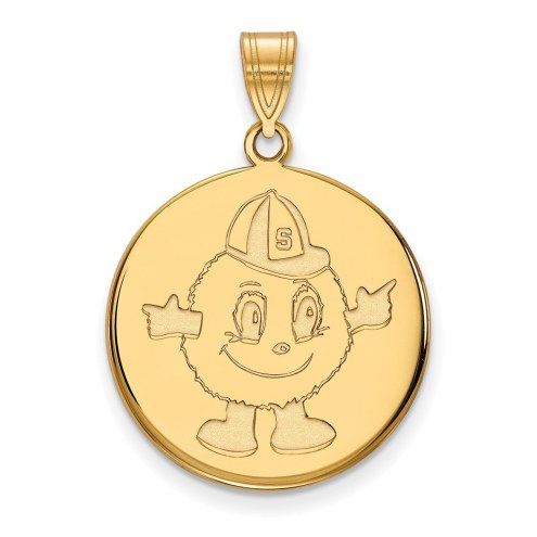 Syracuse Orange Sterling Silver Gold Plated Large Disc Pendant