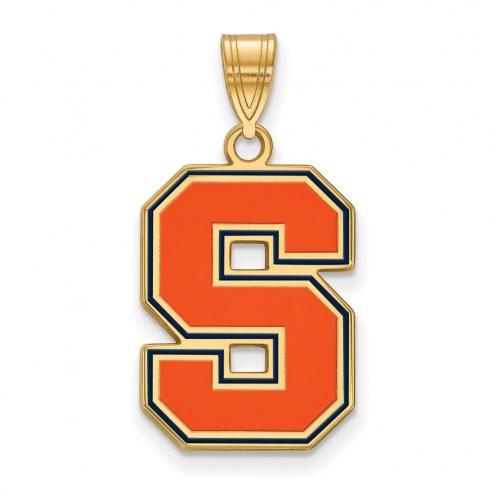 Syracuse Orange Sterling Silver Gold Plated Large Enameled Pendant