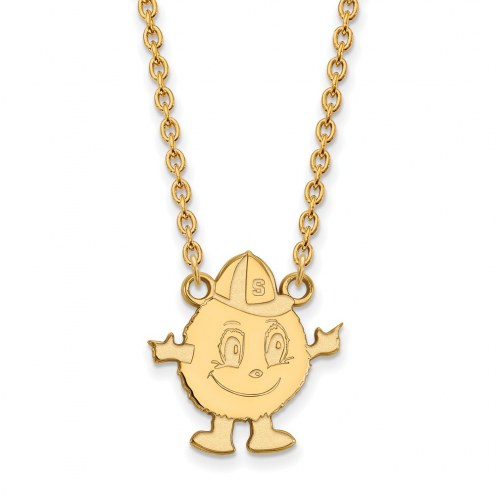 Syracuse Orange Sterling Silver Gold Plated Large Pendant Necklace