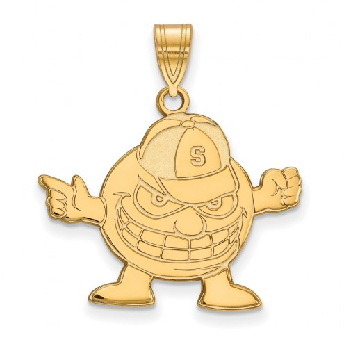 Syracuse Orange Sterling Silver Gold Plated Large Pendant