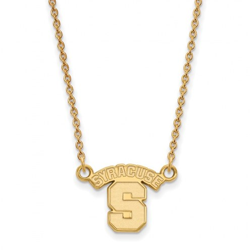 Syracuse Orange Sterling Silver Gold Plated Small Pendant Necklace