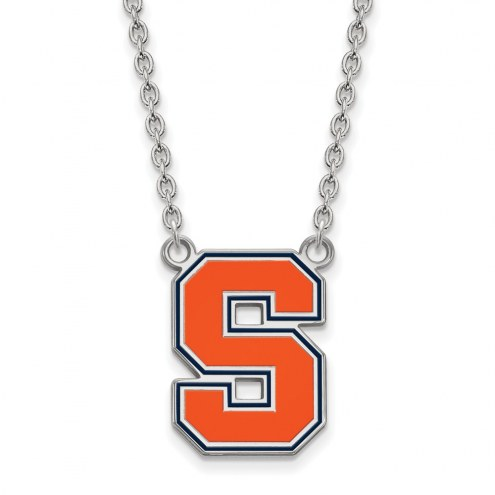 Syracuse Orange Sterling Silver Large Enameled Pendant Necklace