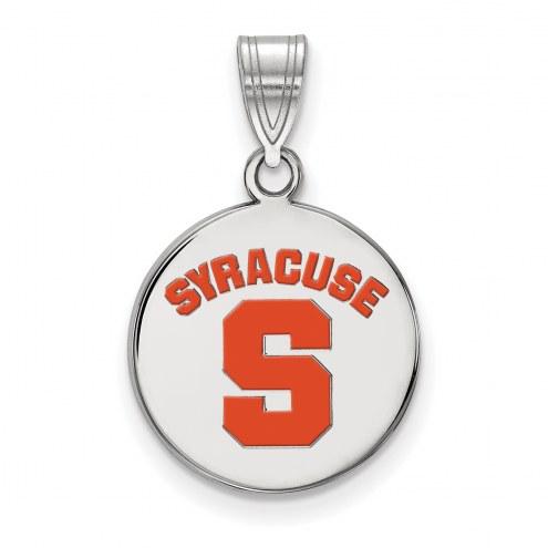 Syracuse Orange Sterling Silver Medium Enameled Disc Pendant