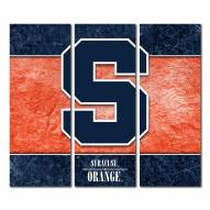 Syracuse Orange Triptych Double Border Canvas Wall Art