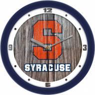 Syracuse Orange Weathered Wood Wall Clock