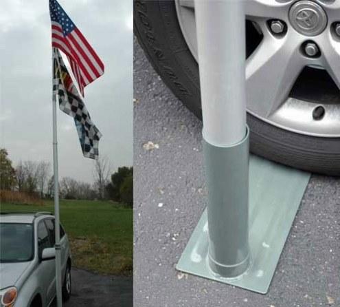 Tailgater's Tire Mount for Large Diameter Flag Poles