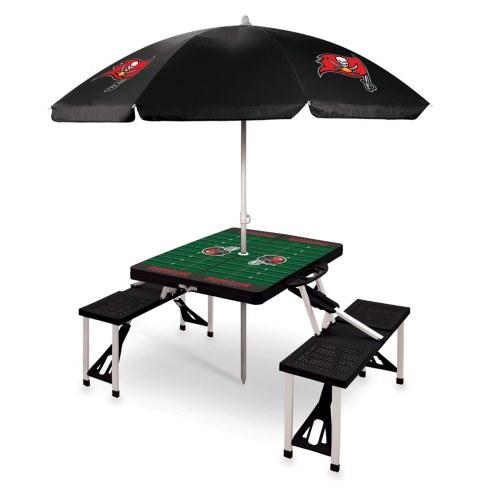 Tampa Bay Buccaneers Black Picnic Table w/Umbrella