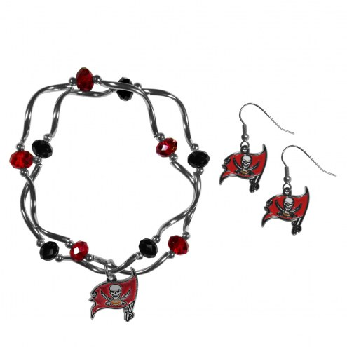 Tampa Bay Buccaneers Dangle Earrings & Crystal Bead Bracelet Set