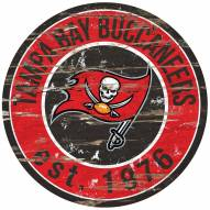 Tampa Bay Buccaneers Distressed Round Sign
