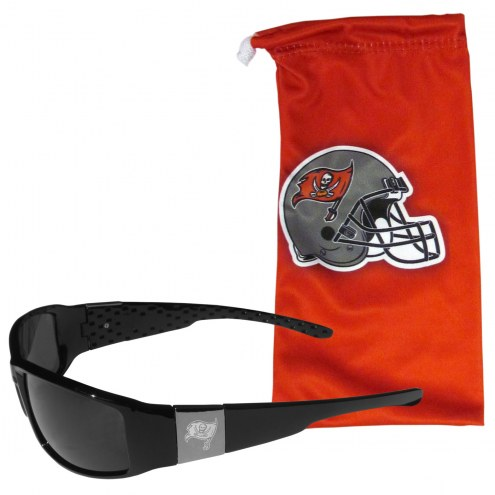 Tampa Bay Buccaneers Etched Chrome Wrap Sunglasses & Bag