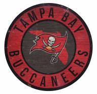 Tampa Bay Buccaneers Round State Wood Sign