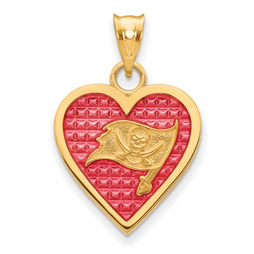 Tampa Bay Buccaneers Gold Plated Enameled Heart Pendant
