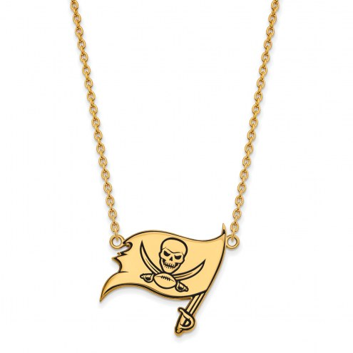 Tampa Bay Buccaneers Sterling Silver Gold Plated Large Pendant Necklace