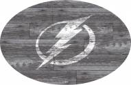 """Tampa Bay Lightning 46"""" Distressed Wood Oval Sign"""