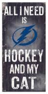 "Tampa Bay Lightning 6"" x 12"" Hockey & My Cat Sign"