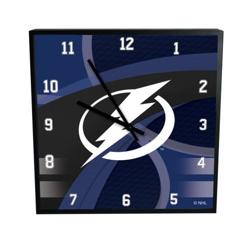 Tampa Bay Lightning Carbon Fiber Square Clock