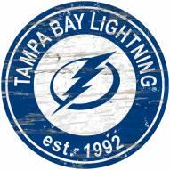 Tampa Bay Lightning Distressed Round Sign