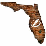 Tampa Bay Lightning Distressed State with Logo Sign