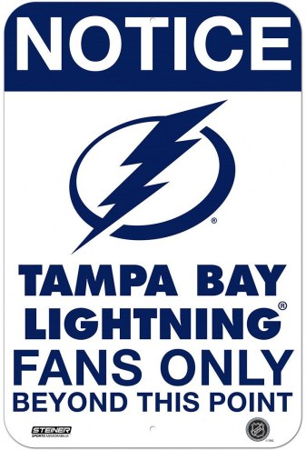 Tampa Bay Lightning Fans Only 8 x 12 Aluminum Sign