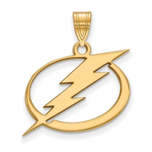 Tampa Bay Lightning Sterling Silver Gold Plated Large Pendant