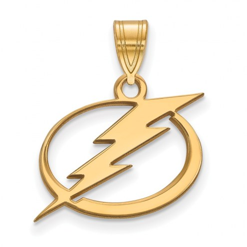 Tampa Bay Lightning Sterling Silver Gold Plated Medium Pendant