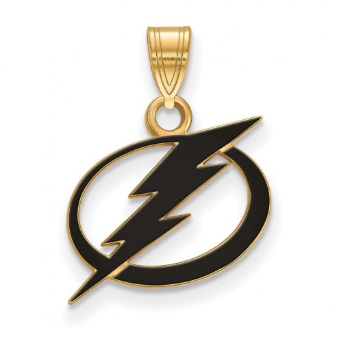 Tampa Bay Lightning Sterling Silver Gold Plated Small Enameled Pendant