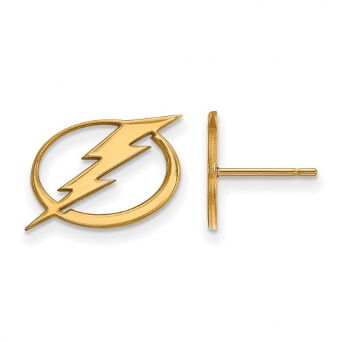 Tampa Bay Lightning Sterling Silver Gold Plated Small Post Earrings
