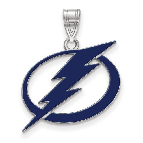 Tampa Bay Lightning Sterling Silver Large Enameled Pendant
