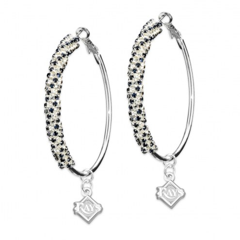 Tampa Bay Rays Amped Logo Crystal Earrings