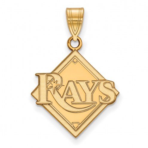 Tampa Bay Rays MLB Sterling Silver Gold Plated Large Pendant