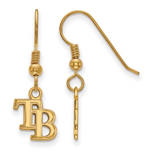 Tampa Bay Rays Sterling Silver Gold Plated Extra Small Dangle Earrings