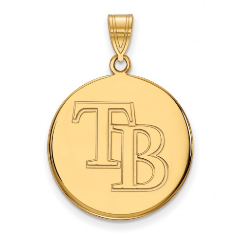 Tampa Bay Rays Sterling Silver Gold Plated Large Disc Pendant