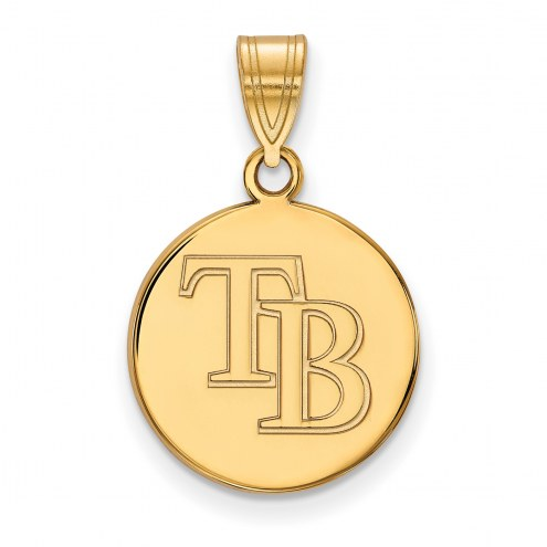 Tampa Bay Rays Sterling Silver Gold Plated Medium Disc Pendant