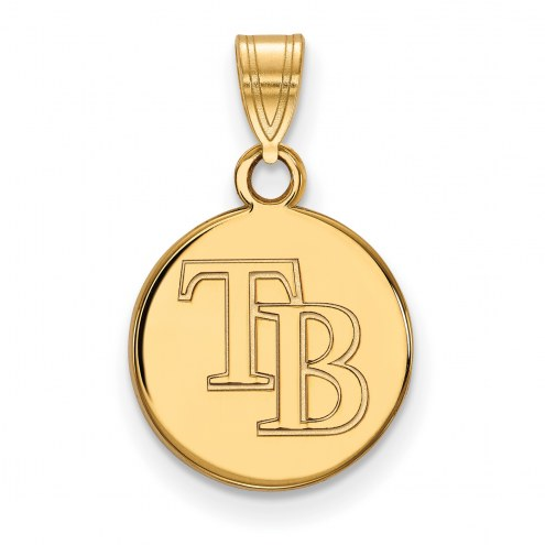 Tampa Bay Rays Sterling Silver Gold Plated Small Disc Pendant
