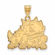 Texas Christian Horned Frogs College Sterling Silver Gold Plated Large Pendant
