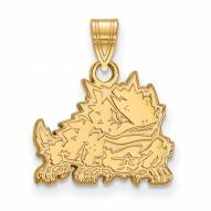 Texas Christian Horned Frogs College Sterling Silver Gold Plated Small Pendant