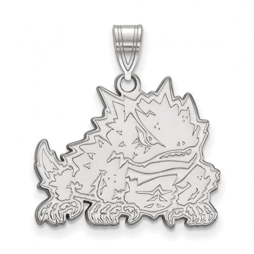 Texas Christian Horned Frogs Sterling Silver Large Pendant