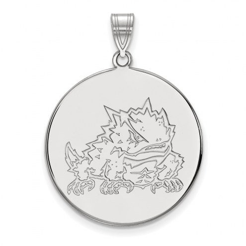 Texas Christian Horned Frogs Sterling Silver Extra Large Disc Pendant