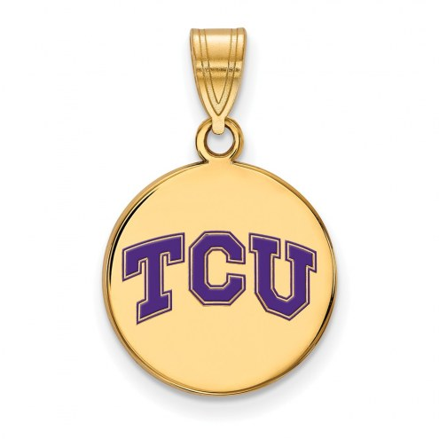 Texas Christian Horned Frogs Sterling Silver Gold Plated Medium Enameled Disc Pendant