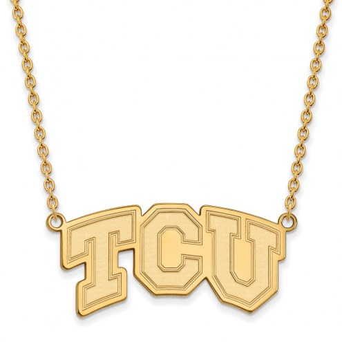 Texas Christian Horned Frogs NCAA Sterling Silver Gold Plated Large Pendant Necklace