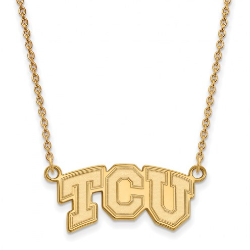 Texas Christian Horned Frogs NCAA Sterling Silver Gold Plated Small Pendant Necklace