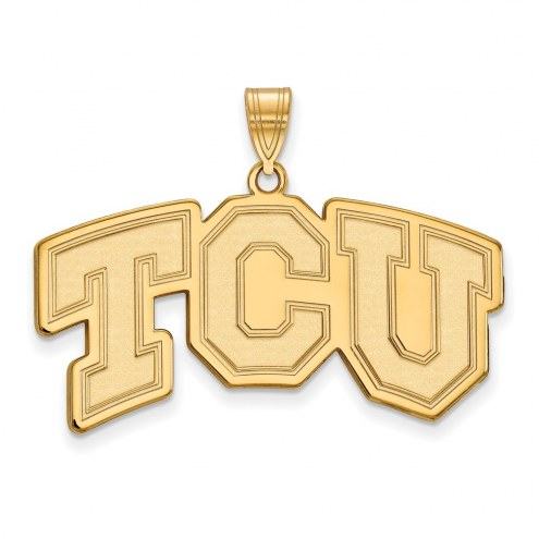 Texas Christian Horned Frogs NCAA Sterling Silver Gold Plated Large Pendant
