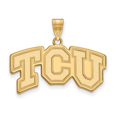 Texas Christian Horned Frogs NCAA Sterling Silver Gold Plated Medium Pendant