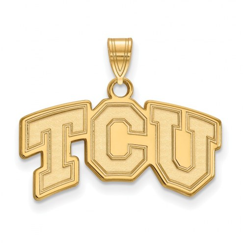 Texas Christian Horned Frogs NCAA Sterling Silver Gold Plated Small Pendant