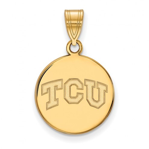 Texas Christian Horned Frogs Sterling Silver Gold Plated Medium Disc Pendant